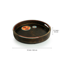 Load image into Gallery viewer, 'Oasis Serves' Hand-Painted Round Serving Tray In Mango Wood