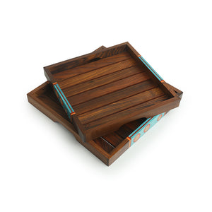 'Oasis Plank Duo' Hand-Painted Nested Serving Trays In Sheesham Wood (Set of 2)