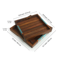 Load image into Gallery viewer, 'Oasis Plank Duo' Hand-Painted Nested Serving Trays In Sheesham Wood (Set of 2)