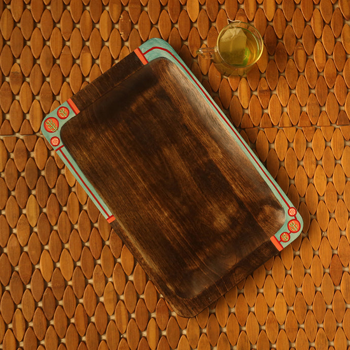 'Desert Dines' Hand-Painted Serving Tray In Mango Wood
