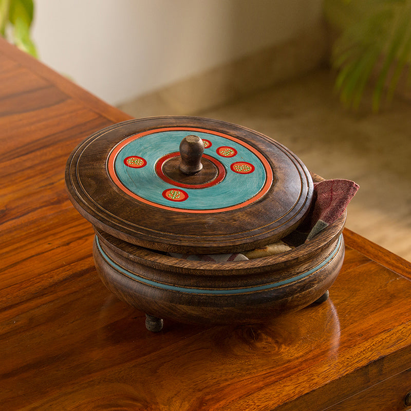'Desert Stash' Hand-Painted Chapati Box In Mango Wood