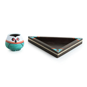 'Desert Owl-Jar Pack' Handglazed Salt & Pepper Shaker Set With Toothpick Holder & Tray