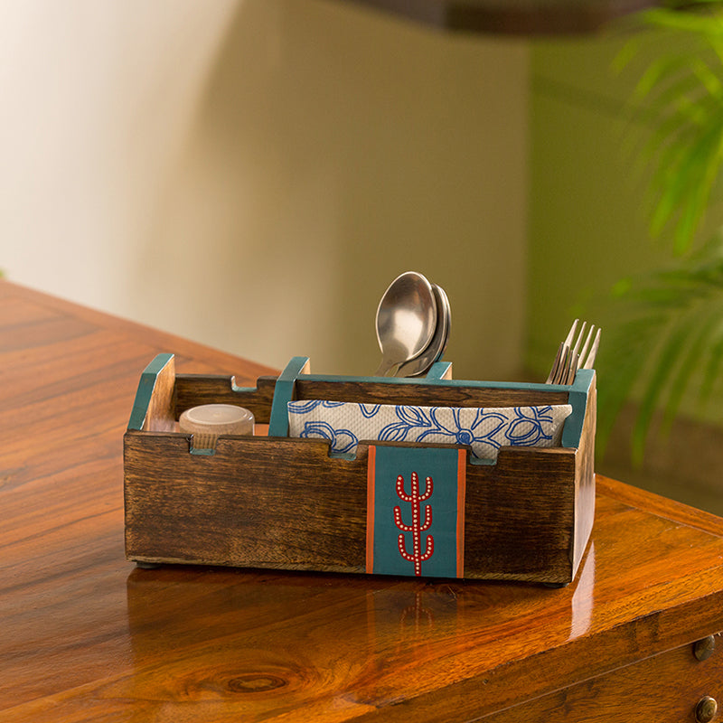 'Oasis Spaces' Hand-Painted Cutlery Holder In Mango Wood (4 Partitions)