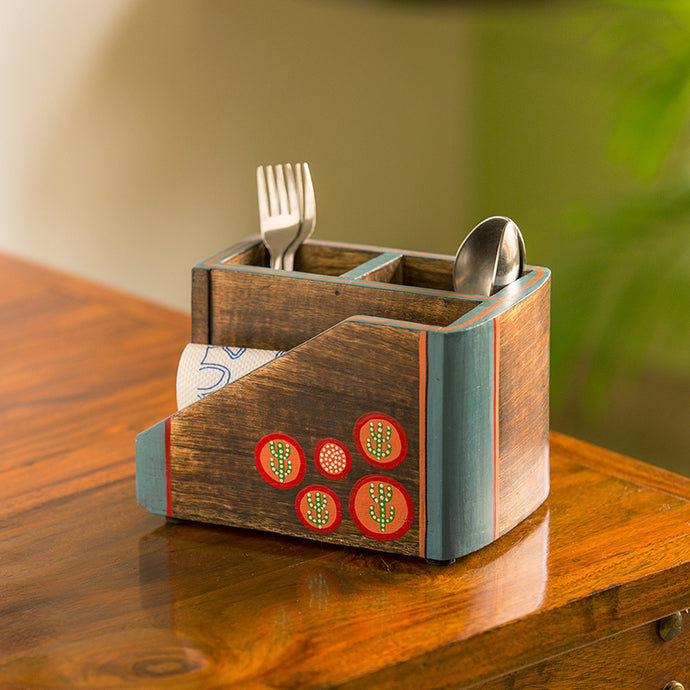 'Desert Staircase' Hand-Painted Cutlery Holder In Mango Wood (3 Partitions)