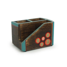 Load image into Gallery viewer, 'Desert Staircase' Hand-Painted Cutlery Holder In Mango Wood (3 Partitions)