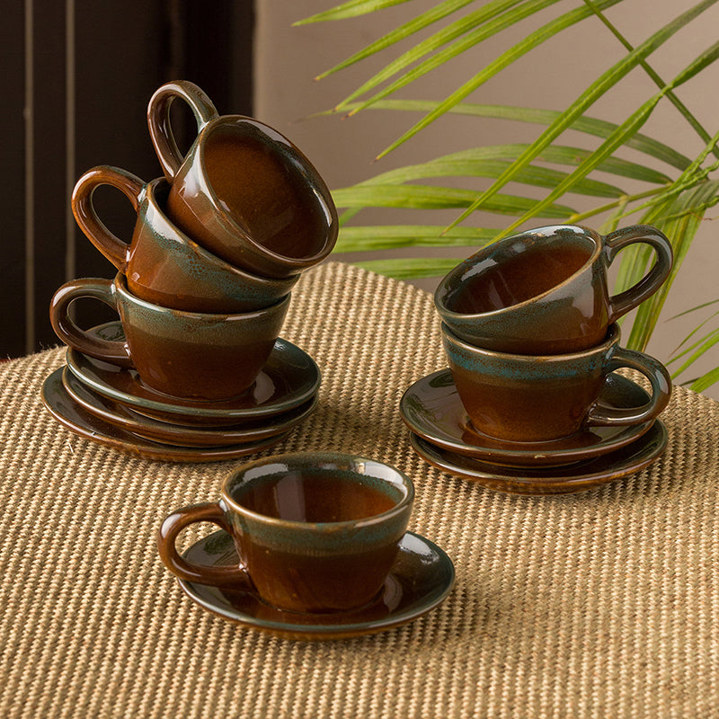'Amber & Teal' Studio Pottery Espresso Coffee Shot Cups With Saucers In Ceramic (Set Of 6)