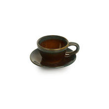 Load image into Gallery viewer, 'Amber & Teal' Studio Pottery Espresso Coffee Shot Cups With Saucers In Ceramic (Set Of 6)