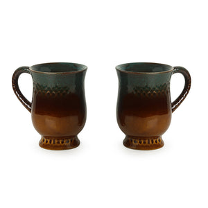 'Amber & Teal' Studio Pottery Tea & Coffee Mugs  In Ceramic (Set Of 2)