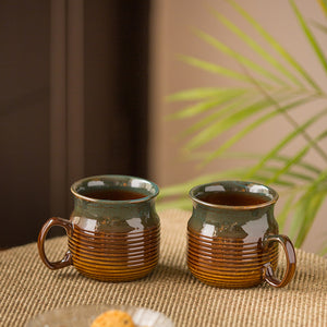 'Amber & Teal' Studio Pottery Mugs in Ceramic (Set Of 2)