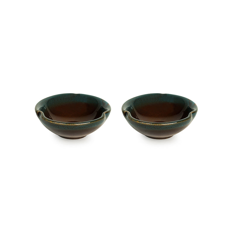 'Amber & Teal' Studio Pottery Chutney & Pickle Bowls In Ceramic (Set Of 2)