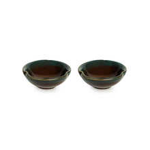 Load image into Gallery viewer, 'Amber & Teal' Studio Pottery Chutney & Pickle Bowls In Ceramic (Set Of 2)