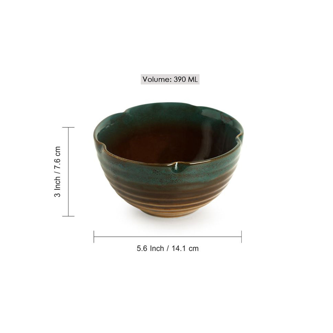 'Amber & Teal' Serving Bowls In Ceramic (Set Of 2)