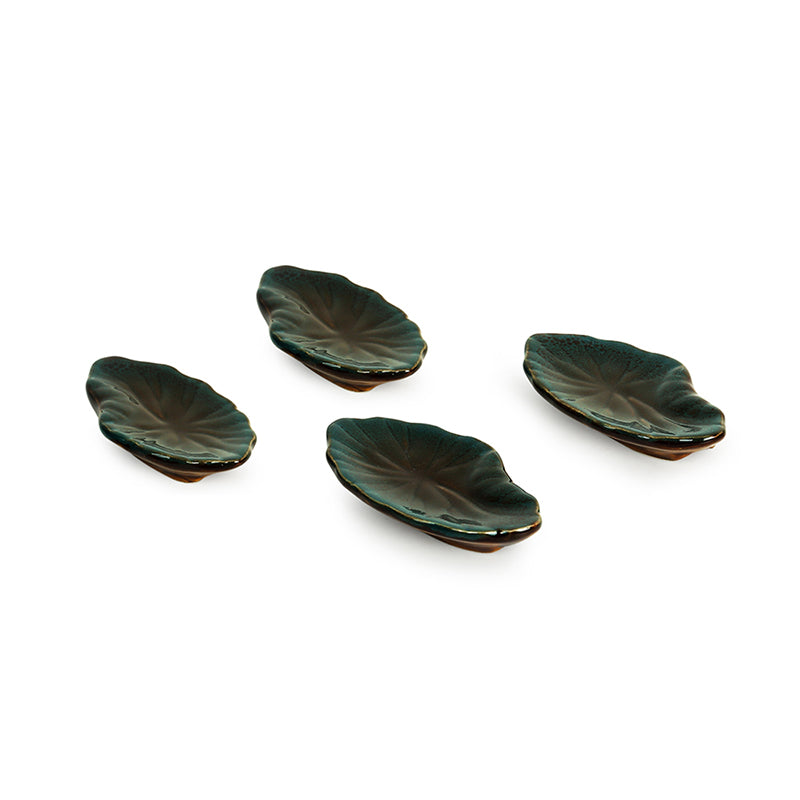 'Amber & Teal' Studio Pottery Chopstick Rests In Ceramic (Set Of 4)