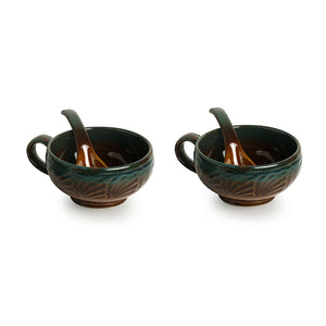 'Amber & Teal' Studio Pottery Soup Bowls With Spoons In Ceramic (Set Of 2)