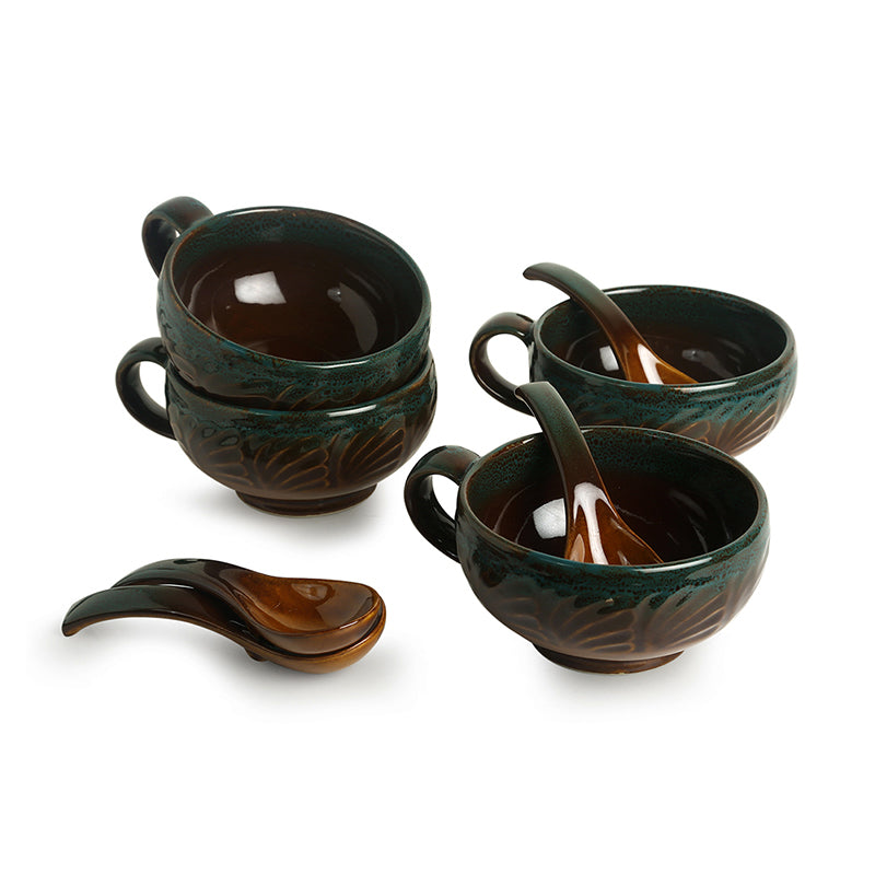 'Amber & Teal' Studio Pottery Soup Bowls With Spoons In Ceramic (Set Of 4)