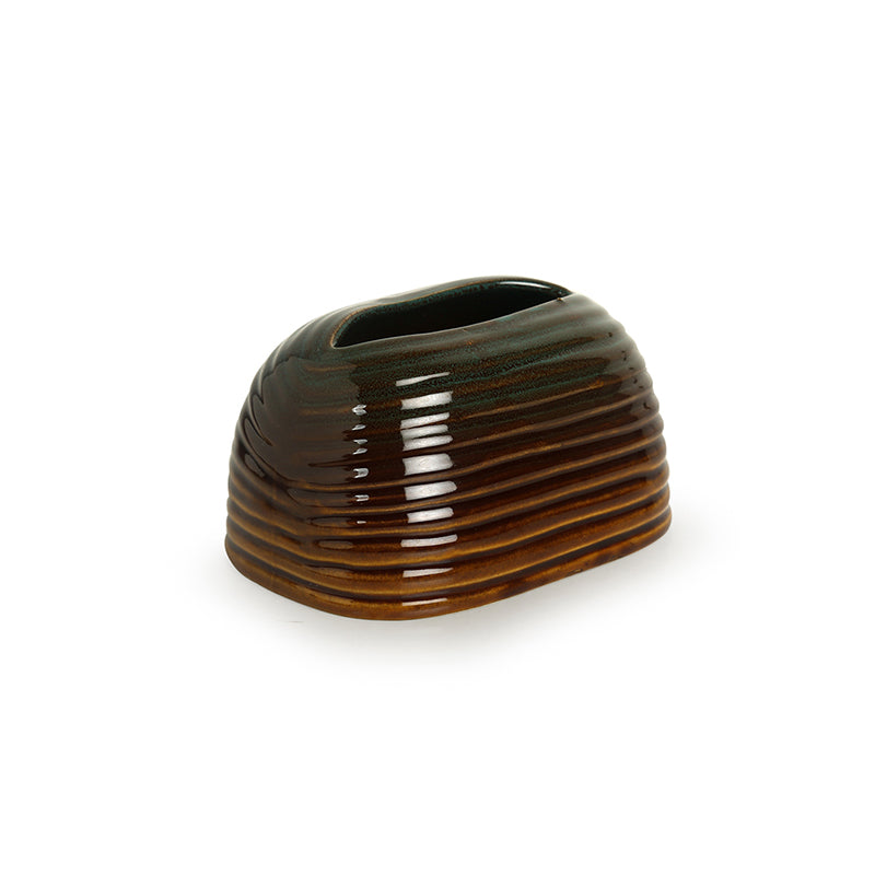 'Amber & Teal' Studio Pottery Napkin Holder In Ceramic