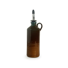 Load image into Gallery viewer, 'Amber & Teal' Studio Pottery Oil Bottle In Ceramic (250 ml)