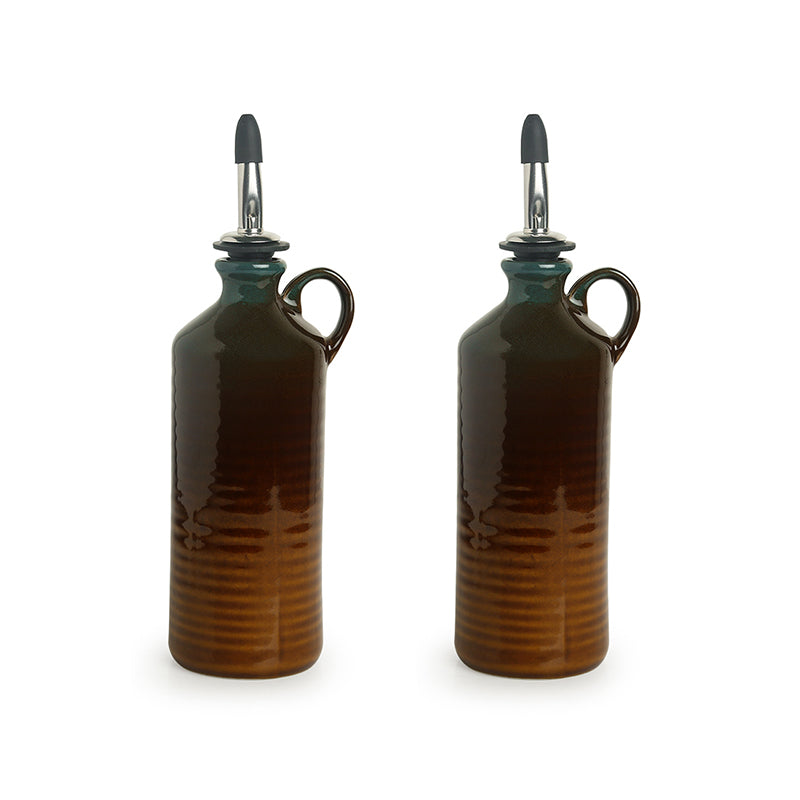'Amber & Teal' Studio Pottery Oil Bottle In Ceramic (Set of 2, 250 ml)