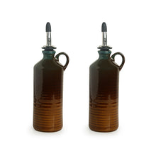 Load image into Gallery viewer, 'Amber & Teal' Studio Pottery Oil Bottle In Ceramic (Set of 2, 250 ml)