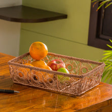Load image into Gallery viewer, 'The Floral Mesh' Handwoven Fruit Basket In Iron (Copper Finish)