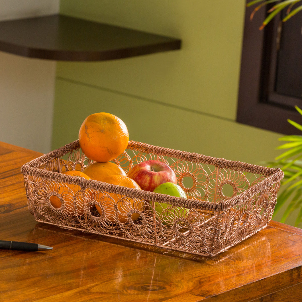 'The Floral Mesh' Handwoven Fruit Basket In Iron (Copper Finish)