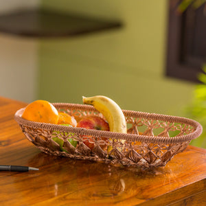 'The Knotted Mesh' Handwoven Fruit Basket In Iron (Copper Finish)