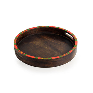 """Warli Round"" Hand-Painted Tray with Foldable Stand In Mango Wood & Iron (18.7 Inch)"