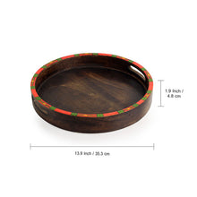 "Load image into Gallery viewer, ""Warli Round"" Hand-Painted Tray with Foldable Stand In Mango Wood & Iron (18.7 Inch)"