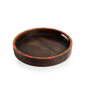 """Warli Round"" Hand-Painted Trays with Foldable Stands In Mango Wood & Iron (Set of 2)"