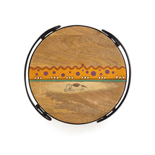 "Load image into Gallery viewer, ""Warli Round"" Hand-Painted Tray In Mango Wood & Iron"