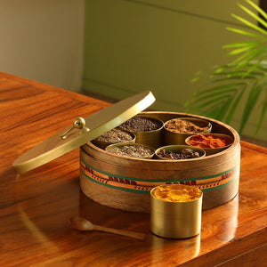 """Golden Warli"" Hand-Painted Spice Box In Mango Wood & Iron (7 Containers)"