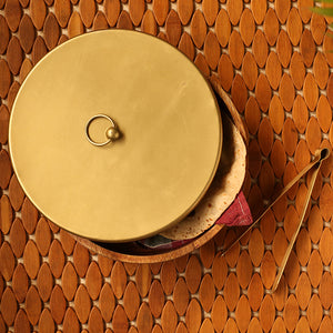 """Golden Warli"" Hand-Painted Chapati Box In Mango Wood & Iron"