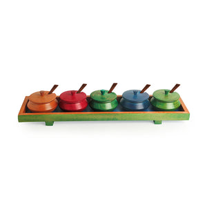 Handcrafted Rectangular Jar Set With Tray & Spoons In Steam Beech Wood (Multicoloured)