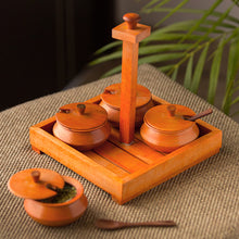 Load image into Gallery viewer, Handcrafted Jar Set With Tray & Spoons In Steam Beech Wood (Orange)