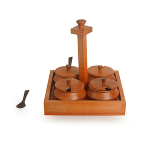 Handcrafted Jar Set With Tray & Spoons In Steam Beech Wood (Orange)