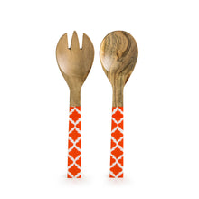 Load image into Gallery viewer, 'Orange Moroccan Pack' Hand-painted Serving Spoon & Fork Set In Mango Wood (Set of 2)