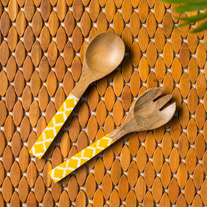 'Yellow Moroccan Pack' Hand-painted Serving Spoon & Fork Set In Mango Wood (Set of 2)