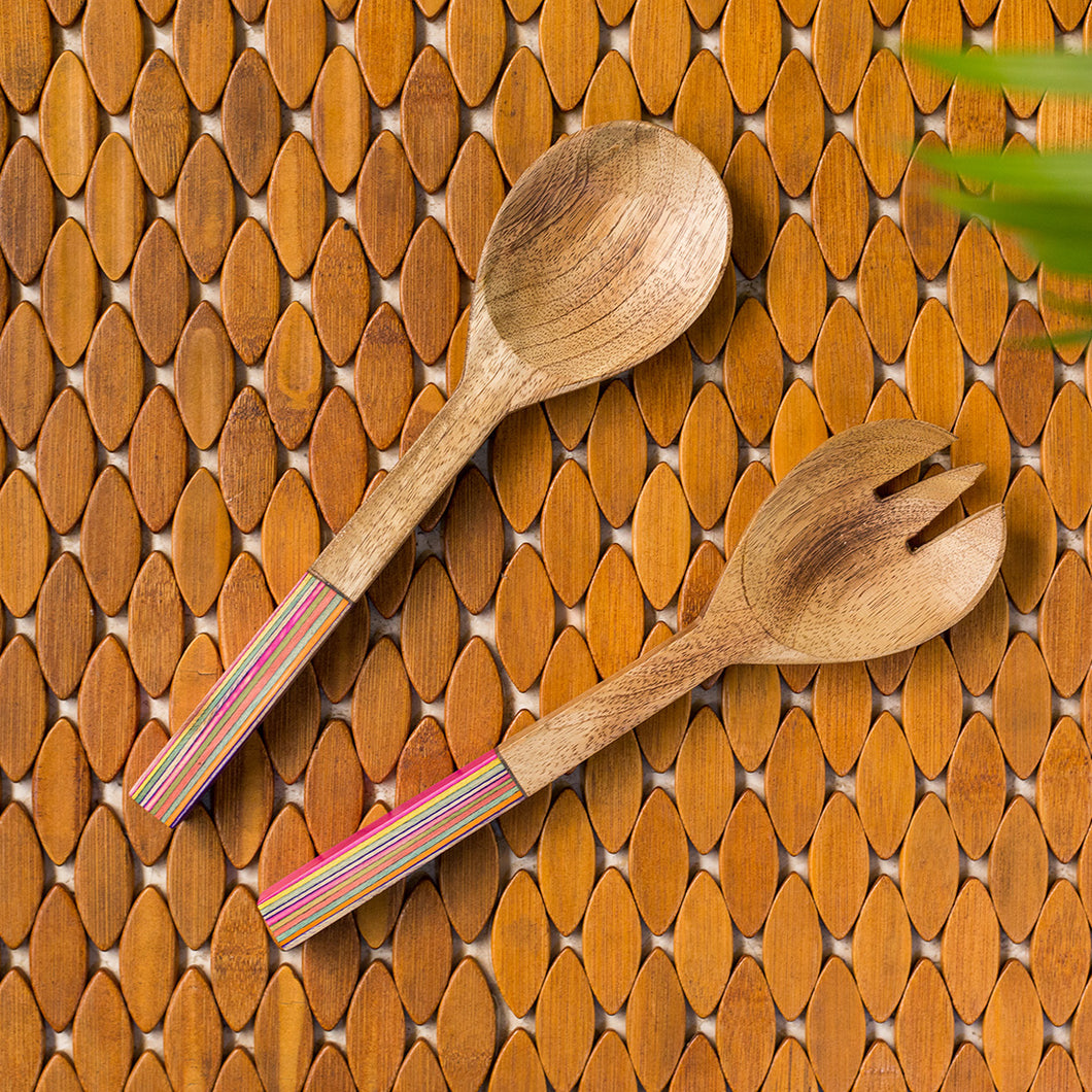 'The Rainbow Pack' Hand-painted Serving Spoon & Fork Set In Mango Wood (Set of 2)