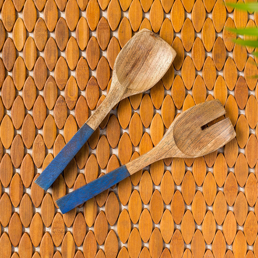 'The Ocean Pack' Hand-painted Spatula Set In Mango Wood (Set of 2)