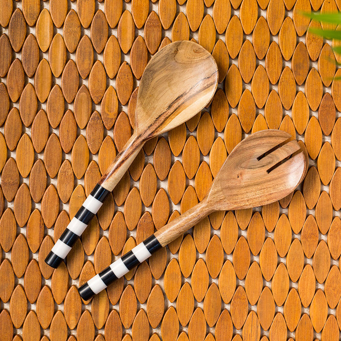 'The Zebra Pack' Hand-painted Serving Spoon Set In Mango Wood (Set of 2)