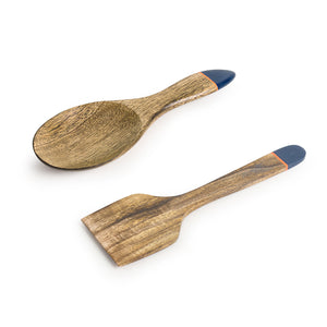 'Indigo Pack' Hand-painted Serving Spoon & Spatula In Mango Wood (Set of 2)