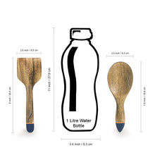 Load image into Gallery viewer, 'Indigo Pack' Hand-painted Serving Spoon & Spatula In Mango Wood (Set of 2)