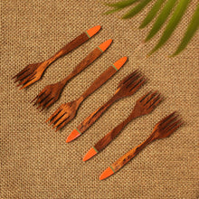 Load image into Gallery viewer, 'Tangerine Must-Haves' Hand-painted Table Forks In Sheesham Wood (Set of 6)