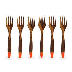 'Tangerine Must-Haves' Hand-painted Table Forks In Sheesham Wood (Set of 6)
