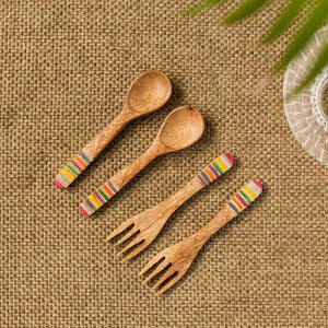 'Iridescent Necessities' Hand-painted Spoon & Fork Set In Mango Wood (Set of 4)