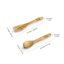 Load image into Gallery viewer, 'Iridescent Necessities' Hand-painted Spoon & Fork Set In Mango Wood (Set of 4)