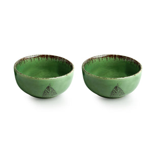 'Banyan-Leaves' Hand-painted Studio Pottery Serving Bowls In Ceramic (Set of 2, Microwave Safe)