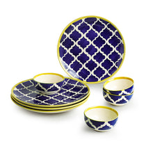 Load image into Gallery viewer, 'Moroccan Dining' Handpainted Ceramic Dinner Plates With Katoris (8 Pieces, Serving for 4)