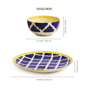 'Moroccan Dining' Handpainted Ceramic Dinner Plates With Katoris (8 Pieces, Serving for 4)