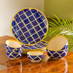 'Moroccan Dining' Handpainted Ceramic Dinner Plates With Katoris & Serving Bowls (10 Pieces, Serving for 4)